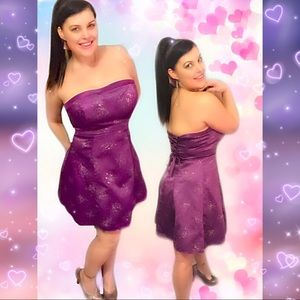 Zum Zum Strapless Evening Dress Purple w/sparkles